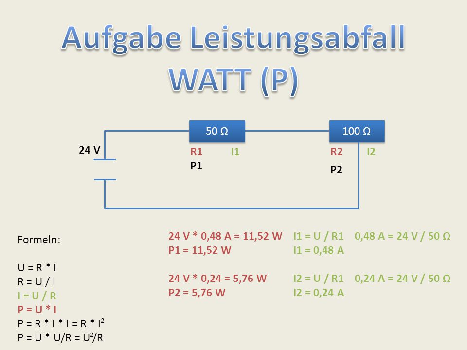 50 Ω 100 Ω 24 V Formeln: U = R * I R = U / I I = U / R P = U * I P = R * I * I = R * I² P = U * U/R = U²/R R1R2 I1 = U / R1 0,48 A = 24 V / 50 Ω I1 =