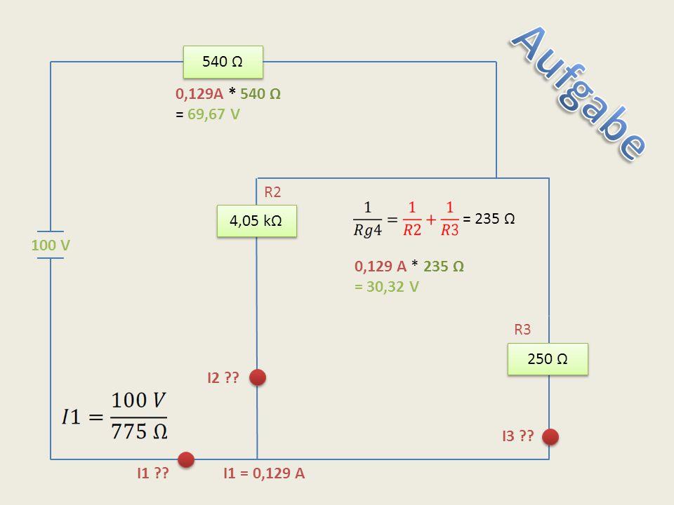 540 Ω 250 Ω 4,05 kΩ 100 V I1 ?? I1 = 0,129 A I2 ?? I3 ?? 0,129A * 540 Ω = 69,67 V R2 R3 = 235 Ω 0,129 A * 235 Ω = 30,32 V