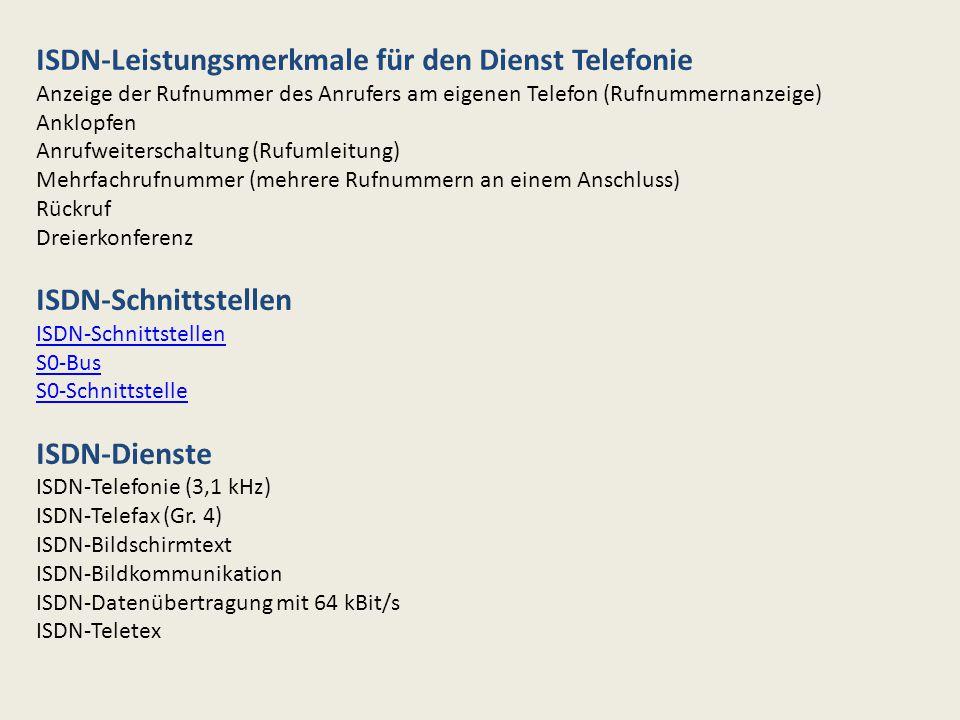 ISDN-Leistungsmerkmale für den Dienst Telefonie Anzeige der Rufnummer des Anrufers am eigenen Telefon (Rufnummernanzeige) Anklopfen Anrufweiterschaltu