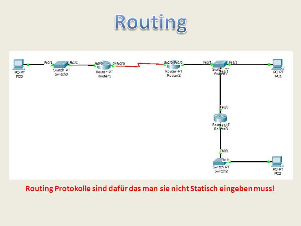 Routing Protokolle sind dafür das man sie nicht Statisch eingeben muss!