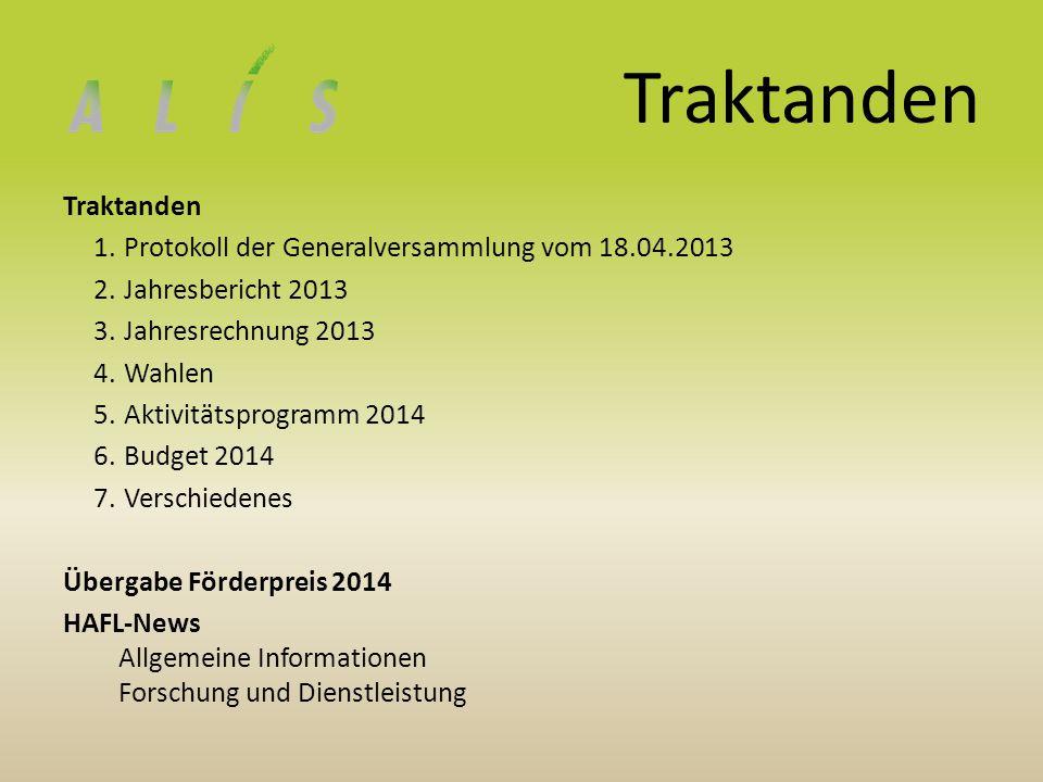 Traktanden 1.Protokoll der Generalversammlung vom 18.04.2013 2.Jahresbericht 2013 3.Jahresrechnung 2013 4.Wahlen 5.Aktivitätsprogramm 2014 6.Budget 20