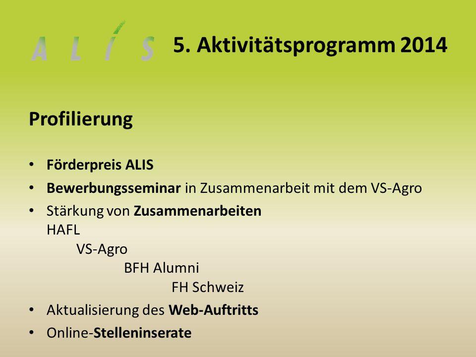 5. Aktivitätsprogramm 2014 Profilierung Förderpreis ALIS Bewerbungsseminar in Zusammenarbeit mit dem VS-Agro Stärkung von Zusammenarbeiten HAFL VS-Agr