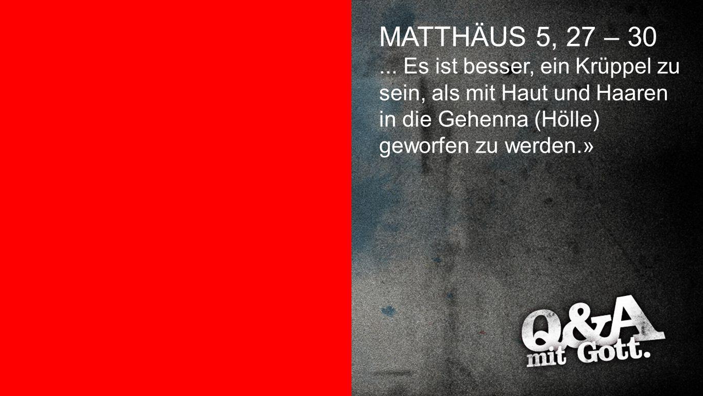 Matthäus 5,27-30 MATTHÄUS 5, 27 – 30... Es ist besser, ein Krüppel zu sein, als mit Haut und Haaren in die Gehenna (Hölle) geworfen zu werden.»