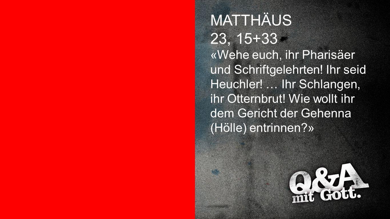 Matthäus 23,15+33 MATTHÄUS 23, 15+33 «Wehe euch, ihr Pharisäer und Schriftgelehrten! Ihr seid Heuchler! … Ihr Schlangen, ihr Otternbrut! Wie wollt ihr