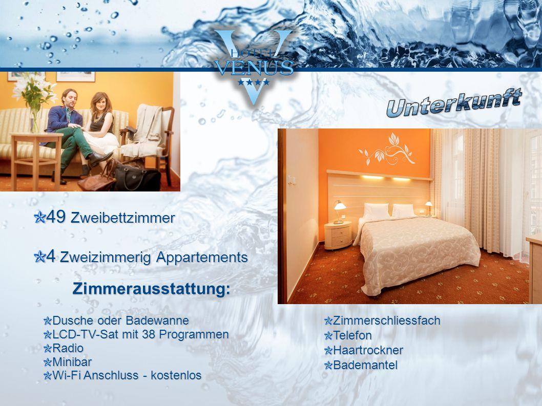 49 Zweibettzimmer 4 Zweizimmerig Appartements Dusche oder Badewanne LCD-TV-Sat mit 38 Programmen RadioMinibar Wi-Fi Anschluss - kostenlos Zimmerschlie