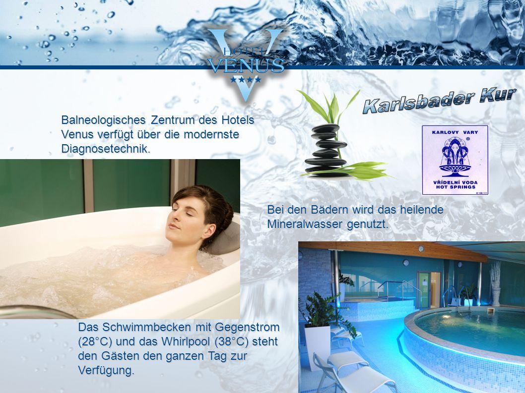 Balneologisches Zentrum des Hotels Venus verfügt über die modernste Diagnosetechnik. Bei den Bädern wird das heilende Mineralwasser genutzt. Das Schwi