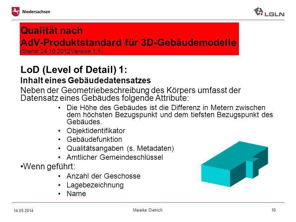 Mareike Dietrich10 Qualität nach AdV-Produktstandard für 3D-Gebäudemodelle (Stand: 24.10.2012 Version 1.1) LoD (Level of Detail) 1: Inhalt eines Gebäu