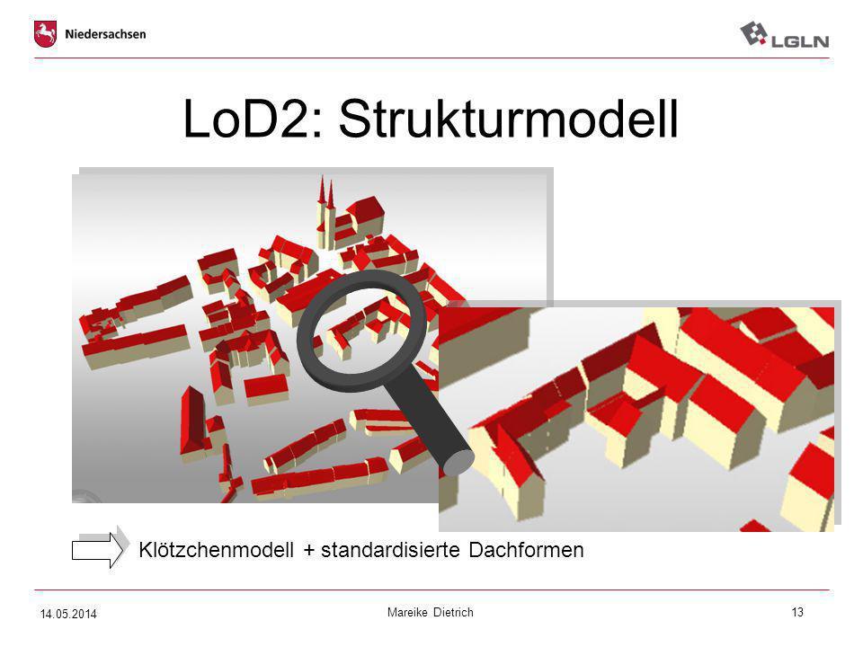 Mareike Dietrich13 LoD2: Strukturmodell Klötzchenmodell + standardisierte Dachformen 14.05.2014