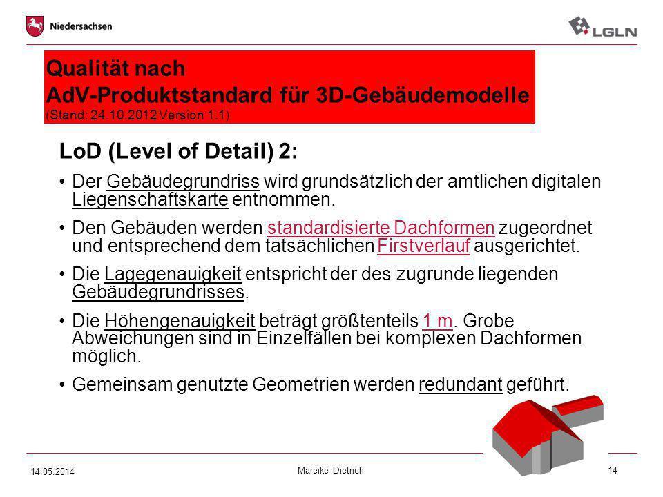 Mareike Dietrich14 Qualität nach AdV-Produktstandard für 3D-Gebäudemodelle (Stand: 24.10.2012 Version 1.1) LoD (Level of Detail) 2: Der Gebäudegrundri