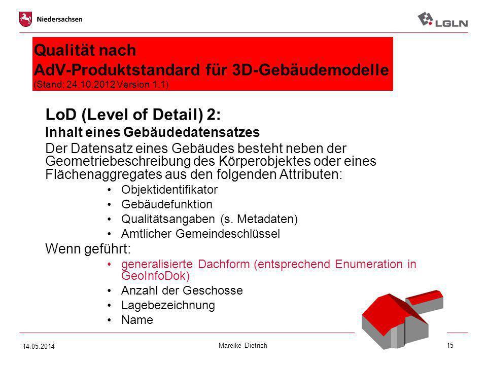 Mareike Dietrich15 Qualität nach AdV-Produktstandard für 3D-Gebäudemodelle (Stand: 24.10.2012 Version 1.1) LoD (Level of Detail) 2: Inhalt eines Gebäu