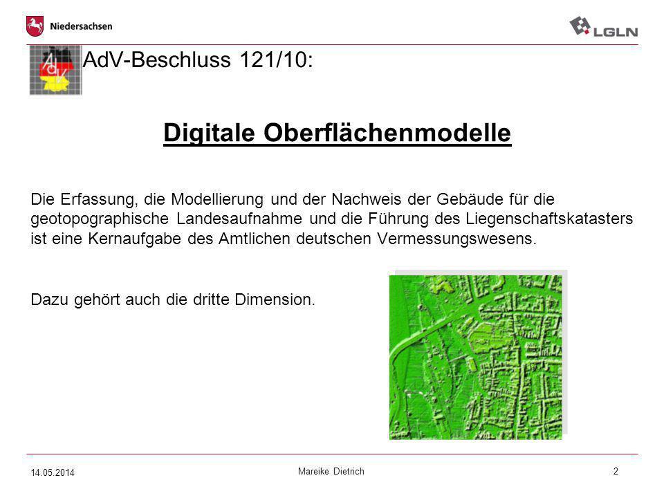Mareike Dietrich2 AdV-Beschluss 121/10: Digitale Oberflächenmodelle Die Erfassung, die Modellierung und der Nachweis der Gebäude für die geotopographi