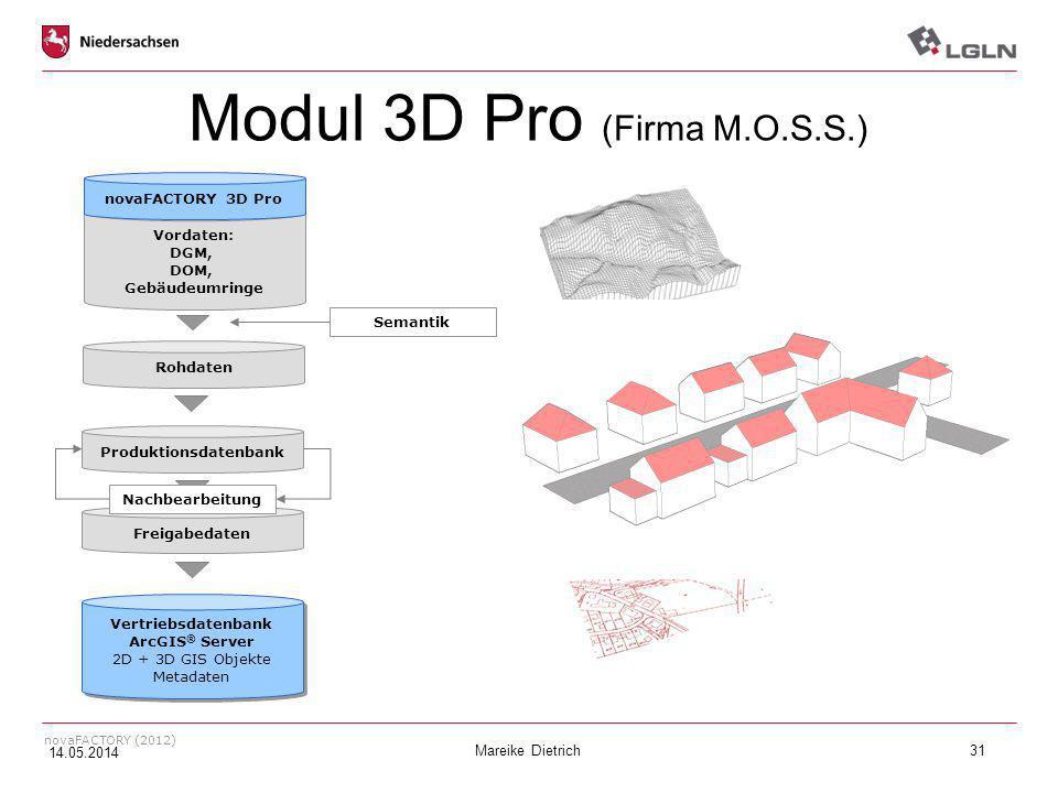 Mareike Dietrich31 novaFACTORY (2012) Modul 3D Pro (Firma M.O.S.S.) Vordaten: DGM, DOM, Gebäudeumringe Rohdaten Produktionsdatenbank Freigabedaten Ver