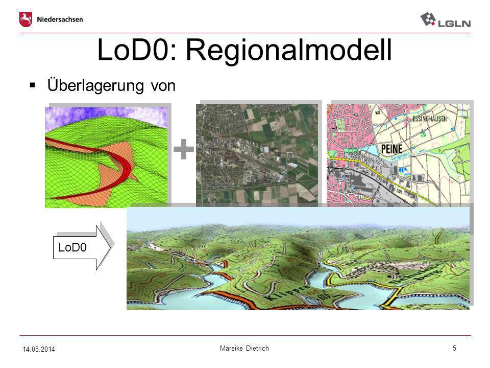 Mareike Dietrich5 LoD0: Regionalmodell  Überlagerung von Digitales Geländemodell (DGM) Textur Orthophoto oder Topografischer Karte + LoD0 14.05.2014