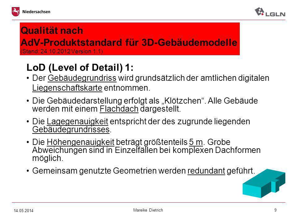 Mareike Dietrich9 Qualität nach AdV-Produktstandard für 3D-Gebäudemodelle (Stand: 24.10.2012 Version 1.1) LoD (Level of Detail) 1: Der Gebäudegrundris