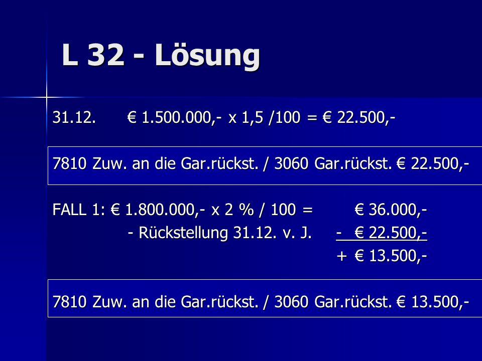 L 32 - Lösung 31.12.€ 1.500.000,- x 1,5 /100 = € 22.500,- 7810 Zuw. an die Gar.rückst. / 3060 Gar.rückst. € 22.500,- FALL 1: € 1.800.000,- x 2 % / 100