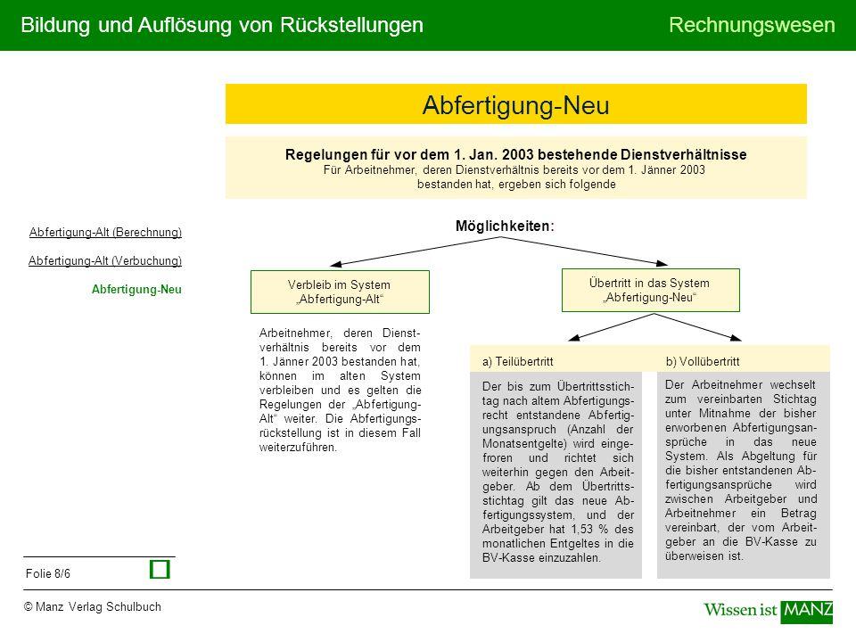 Bildung und Auflösung von RückstellungenRechnungswesen © Manz Verlag Schulbuch Folie 8/6 Regelungen für vor dem 1.