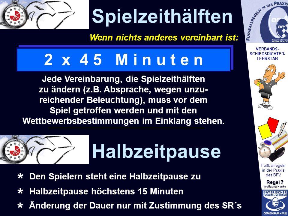 VERBANDS- SCHIEDSRICHTER- LEHRSTAB Fußballregeln in der Praxis des BFV Regel 7 Wolfgang Hauke Senioren A ab 32 *) 2 x 45keine4 *) 7G/R Senioren B ab 40 *) 2 x 45keine4 *) 7G/R Senioren C ab 45 *) 2 x 45keine4 *) 7G/R Ehrenliga ab 50 *) 2 x 45Keine4 *) 7G/R Frauen ab 16 *) 2 x 452 x 154 *) 7G/R MannschaftAlter Spiel -zeit (Minuten) Verlängerung (Minuten) AW- Spieler Spieler bei Spielbeginn (einschl.