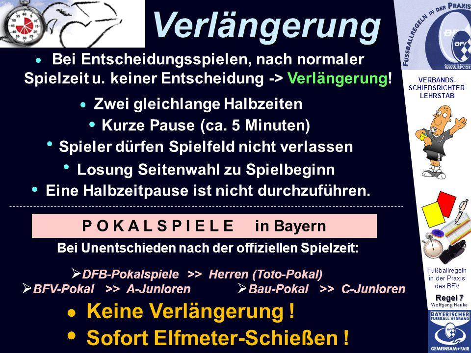 VERBANDS- SCHIEDSRICHTER- LEHRSTAB Fußballregeln in der Praxis des BFV Regel 7 Wolfgang HaukeVerlängerung Bei Entscheidungsspielen, nach normaler Spie