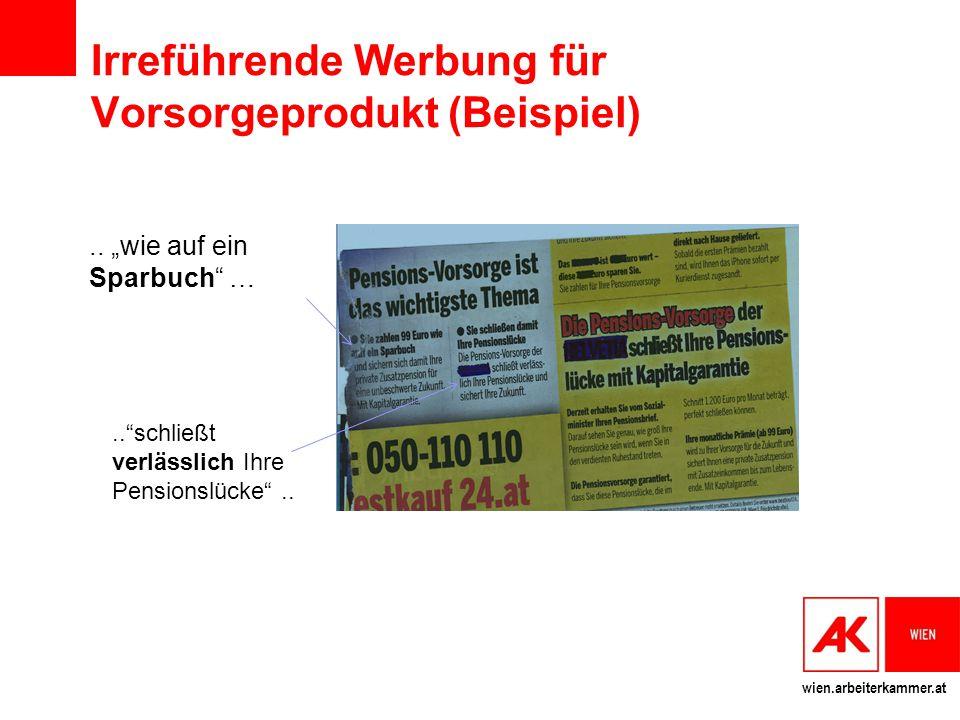 wien.arbeiterkammer.at Irreführende Werbung für Vorsorgeprodukt (Beispiel)..