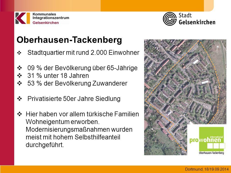Dortmund, 18/19.09.2014 Oberhausen-Tackenberg  Stadtquartier mit rund 2.000 Einwohner  09 % der Bevölkerung über 65-Jährige  31 % unter 18 Jahren 