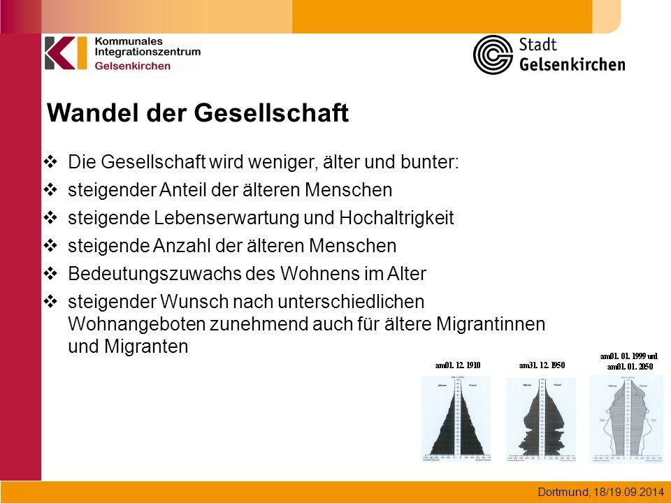 Dortmund, 18/19.09.2014  Die Gesellschaft wird weniger, älter und bunter:  steigender Anteil der älteren Menschen  steigende Lebenserwartung und Ho
