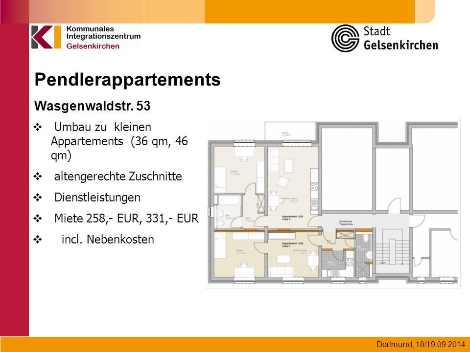 Dortmund, 18/19.09.2014 Pendlerappartements Wasgenwaldstr. 53  Umbau zu kleinen Appartements (36 qm, 46 qm)  altengerechte Zuschnitte  Dienstleistu
