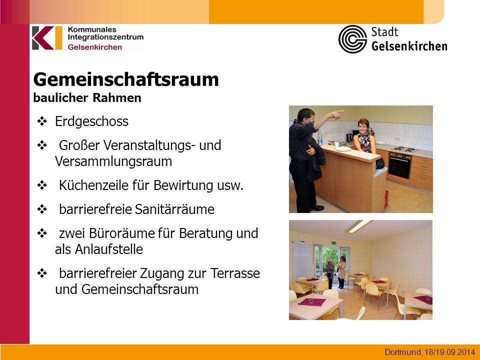 Dortmund, 18/19.09.2014 Gemeinschaftsraum baulicher Rahmen  Erdgeschoss  Großer Veranstaltungs- und Versammlungsraum  Küchenzeile für Bewirtung usw