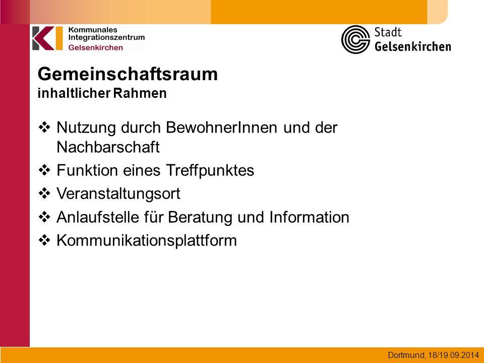 Dortmund, 18/19.09.2014 Gemeinschaftsraum inhaltlicher Rahmen  Nutzung durch BewohnerInnen und der Nachbarschaft  Funktion eines Treffpunktes  Vera