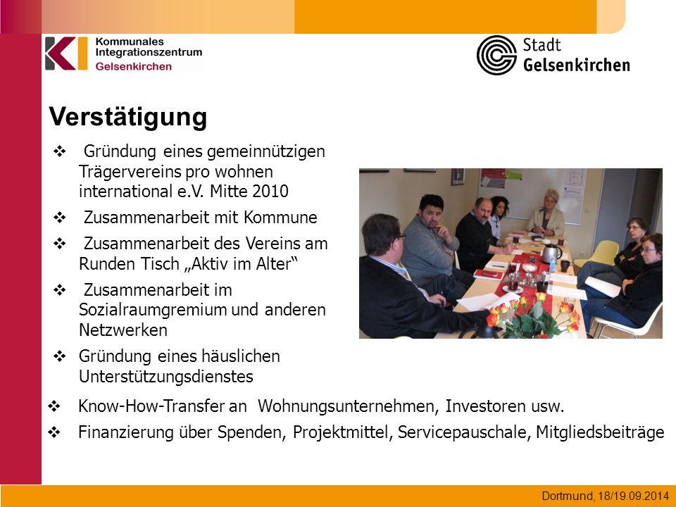Dortmund, 18/19.09.2014 Verstätigung  Gründung eines gemeinnützigen Trägervereins pro wohnen international e.V. Mitte 2010  Zusammenarbeit mit Kommu