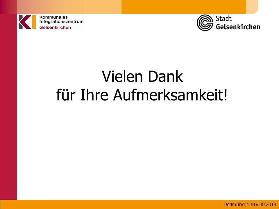 Dortmund, 18/19.09.2014 Vielen Dank für Ihre Aufmerksamkeit!