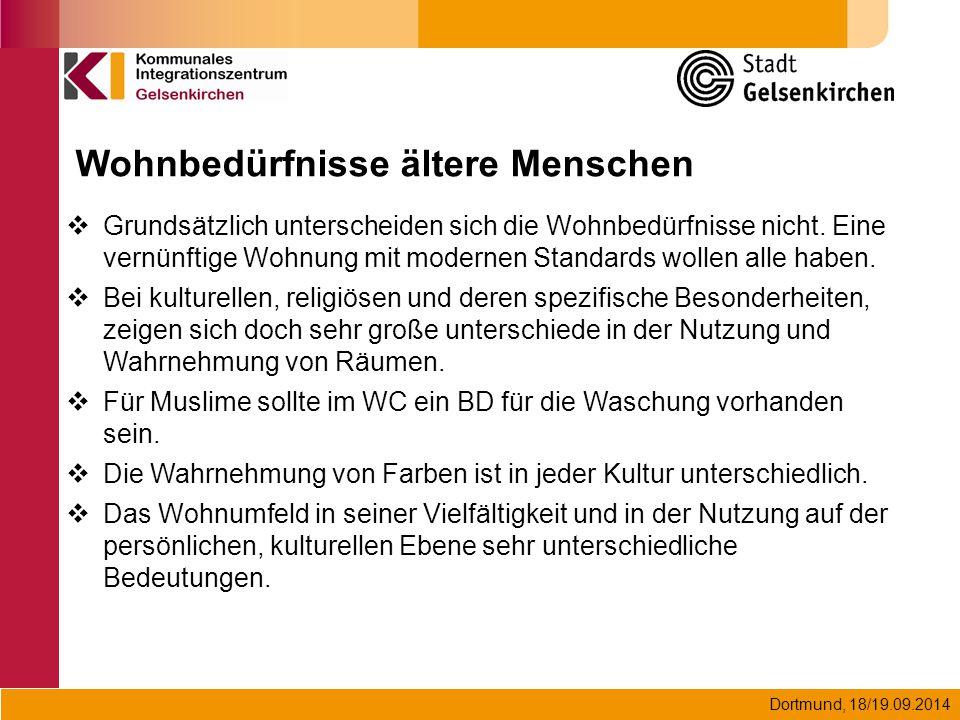 Dortmund, 18/19.09.2014  Grundsätzlich unterscheiden sich die Wohnbedürfnisse nicht. Eine vernünftige Wohnung mit modernen Standards wollen alle habe