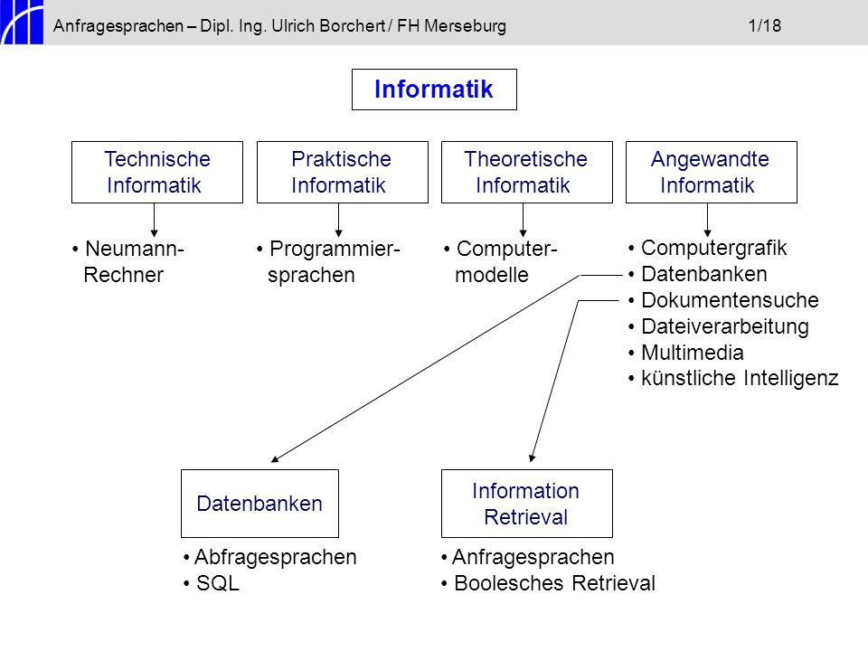 Anfragesprachen – Dipl. Ing. Ulrich Borchert / FH Merseburg1/18 Informatik Technische Informatik Praktische Informatik Theoretische Informatik Angewan