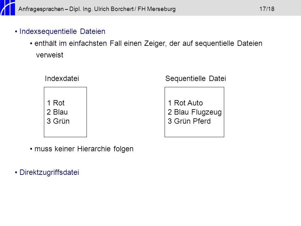 Anfragesprachen – Dipl. Ing. Ulrich Borchert / FH Merseburg17/18 Indexsequentielle Dateien enthält im einfachsten Fall einen Zeiger, der auf sequentie