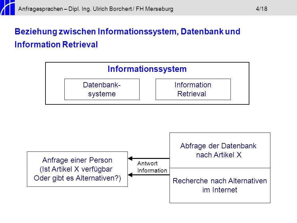 Anfragesprachen – Dipl. Ing. Ulrich Borchert / FH Merseburg4/18 Beziehung zwischen Informationssystem, Datenbank und Information Retrieval Information