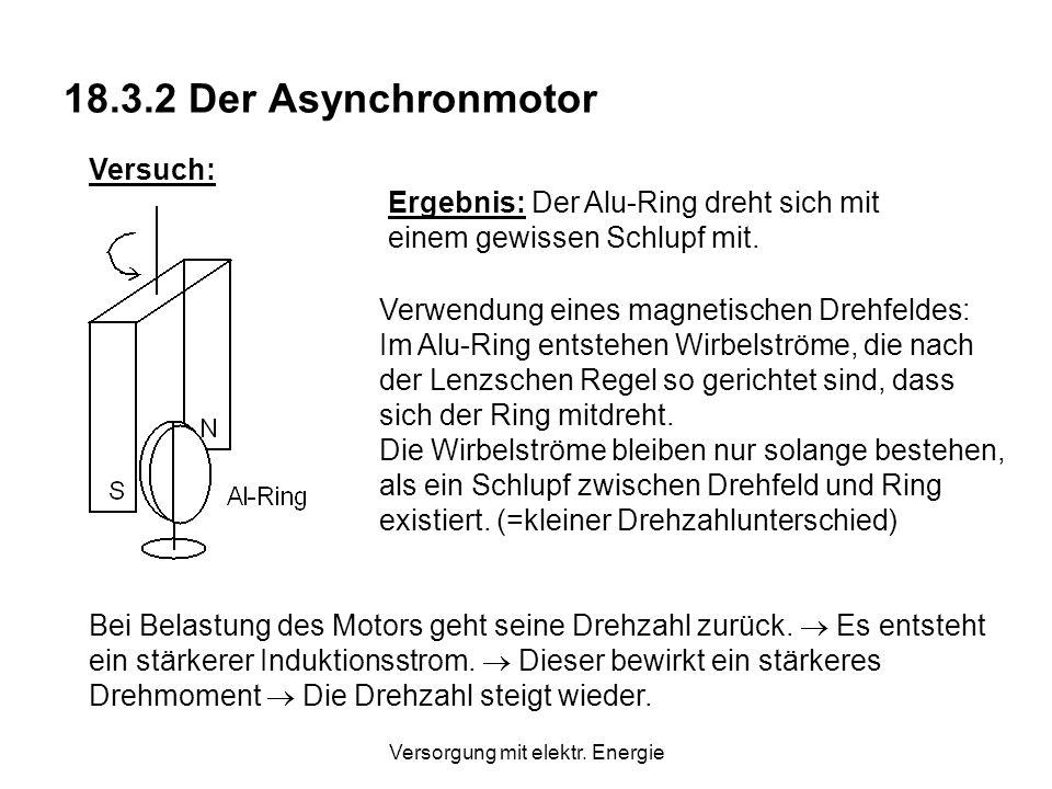 Versorgung mit elektr. Energie Der Synchronmotor ist ein Motor mit konstanter Drehzahl. Der Rotor muss über Schleifringe mit Gleichstrom gespeist werd