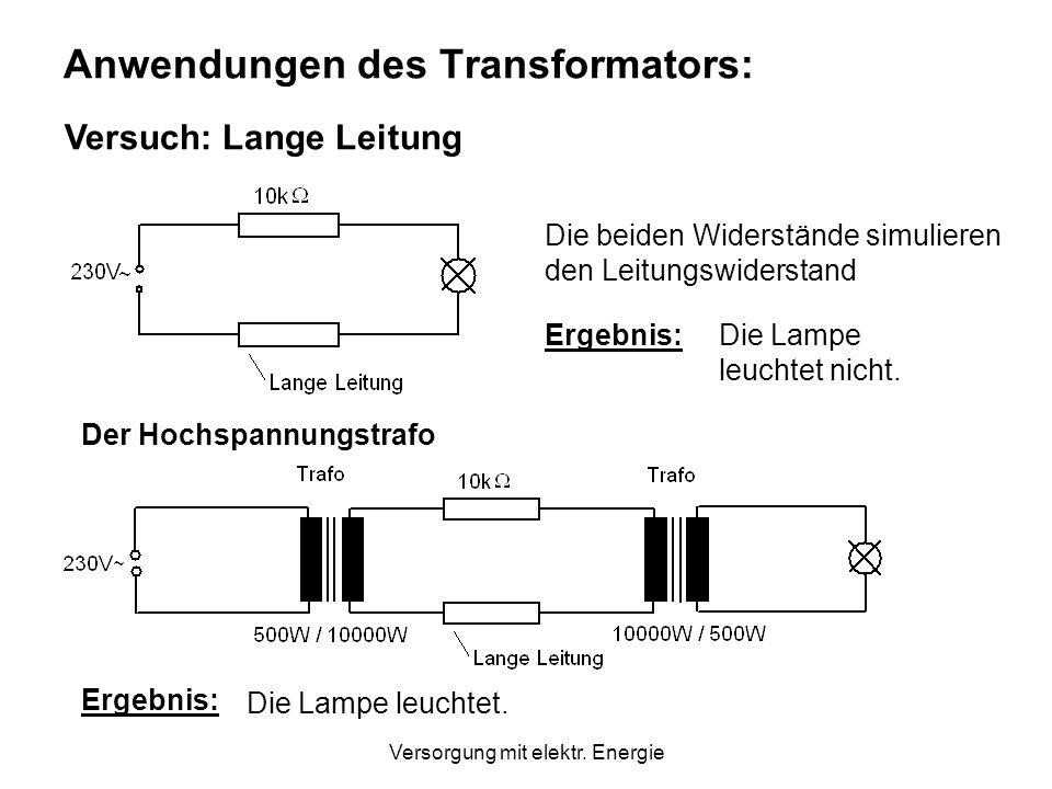 Versorgung mit elektr. Energie Stromübersetzung ? Ansatz: Leistung im Primärkreis = Leistung im Sekundärkreis Es gilt annähernd: und daher: Die Ströme