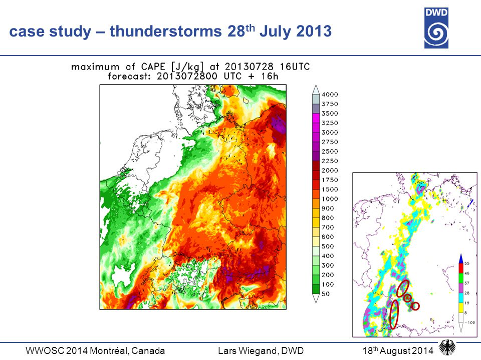 WWOSC 2014 Montréal, CanadaLars Wiegand, DWD18 th August 2014 Bayes theorem  variables: CAPE, CIN, TWATER, OMEGA, DBZ_CMAX, TOT_PREC  period: summer (Apr- Sept) 2012  forecast: 00UTC + 0/6/12/18h  based on grid points  1/0 event occurs/does not occur  X = variable from COSMO-DE(-EPS)