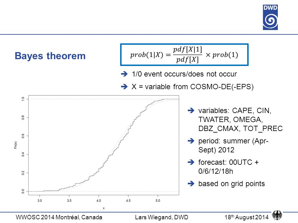 WWOSC 2014 Montréal, CanadaLars Wiegand, DWD18 th August 2014 Bayes theorem  variables: CAPE, CIN, TWATER, OMEGA, DBZ_CMAX, TOT_PREC  period: summer (Apr- Sept) 2012  forecast: 00UTC + 0/6/12/18h  based on grid points  1/0 event occurs/does not occur  X = variable from COSMO-DE(-EPS)