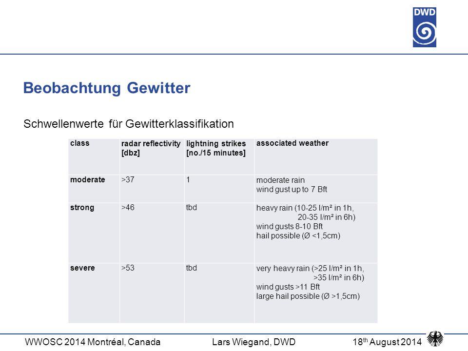 WWOSC 2014 Montréal, CanadaLars Wiegand, DWD18 th August 2014 Beobachtung Gewitter Schwellenwerte für Gewitterklassifikation classradar reflectivity [