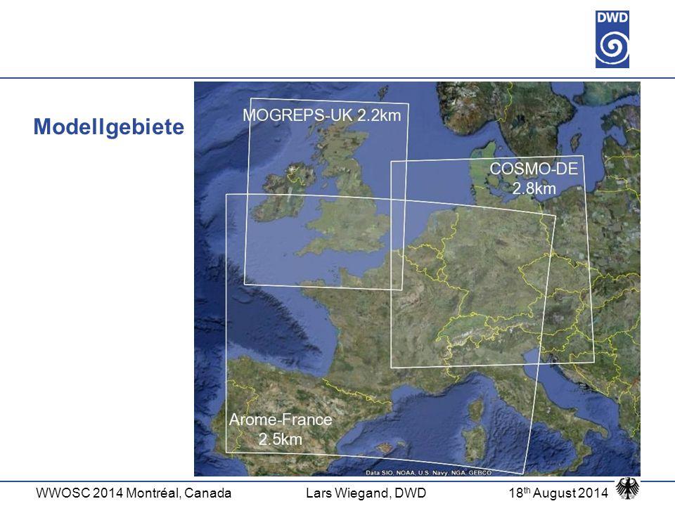 WWOSC 2014 Montréal, CanadaLars Wiegand, DWD18 th August 2014 SESAR domain Gemeinsames SESAR 'Modellgebiet'  Dünkirchen (2.38E, 51N) als gemeinsamer Gitterpunkt  Dünkirchen kein GP in originalem COSMO-DE-Gitter  Auflösung 0.027°/0.022° (lon/lat – reguläres Gitter) Anpassungen:  Interpolation von rotiertem Gitter (0.025° lon/lat) auf SESAR-Gitter  Variablenanpassung: z.B.