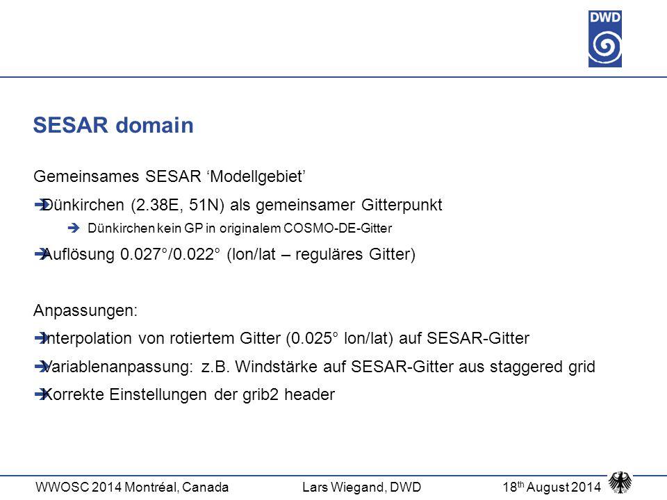 WWOSC 2014 Montréal, CanadaLars Wiegand, DWD18 th August 2014 SESAR domain Gemeinsames SESAR 'Modellgebiet'  Dünkirchen (2.38E, 51N) als gemeinsamer