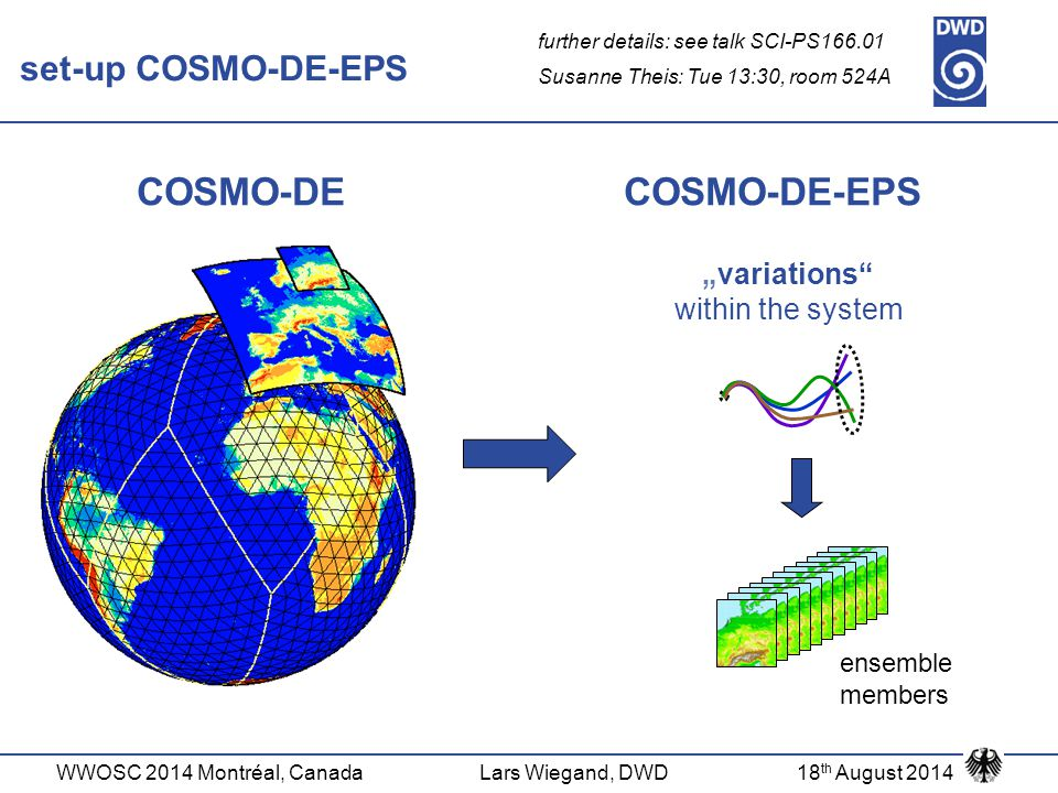 "WWOSC 2014 Montréal, CanadaLars Wiegand, DWD18 th August 2014 COSMO-DE COSMO-DE-EPS ""variations"" within the system ensemble members set-up COSMO-DE-EP"