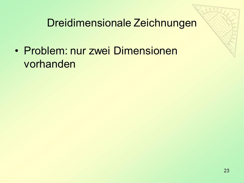 23 Dreidimensionale Zeichnungen Problem: nur zwei Dimensionen vorhanden
