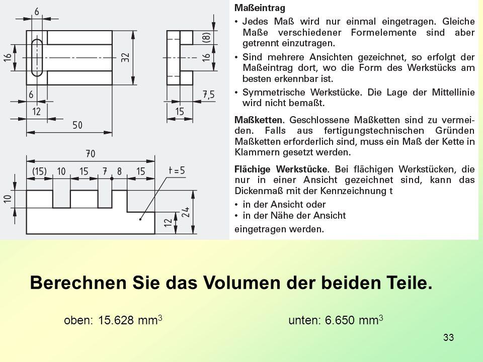 33 Berechnen Sie das Volumen der beiden Teile. oben: 15.628 mm 3 unten: 6.650 mm 3