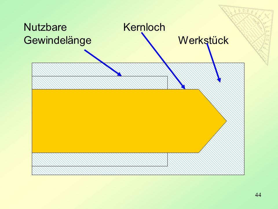 44 Werkstück KernlochNutzbare Gewindelänge