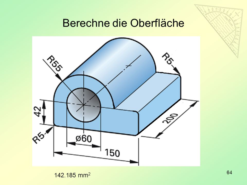 Berechne die Oberfläche 64 142.185 mm 2