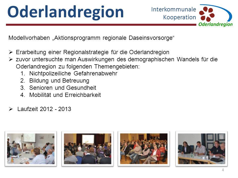 Oderlandregion Interkommunale Kooperation 5 Beispiel: AG Nichtpolizeiliche Gefahrenabwehr  Zusammensetzung der AG Amtsbrandmeister/Gemeinde-/Stadtwehrführer (insg.