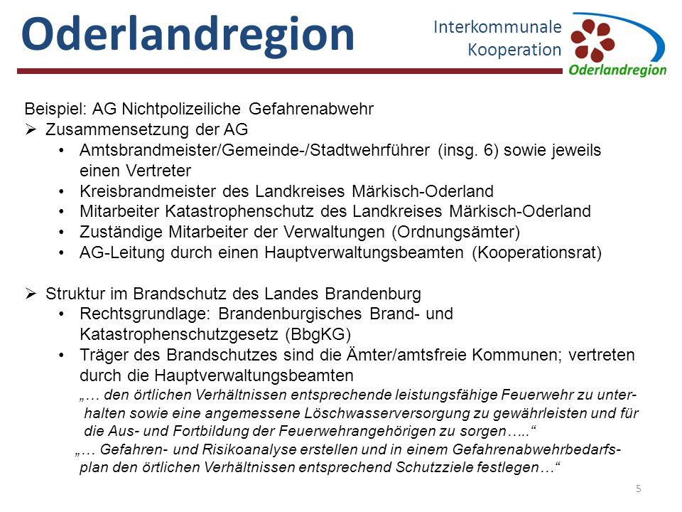 Oderlandregion Interkommunale Kooperation Republik Polen Quelle: Geofachdaten LK MOL Gefahrenabwehrbedarfspläne der Ämter