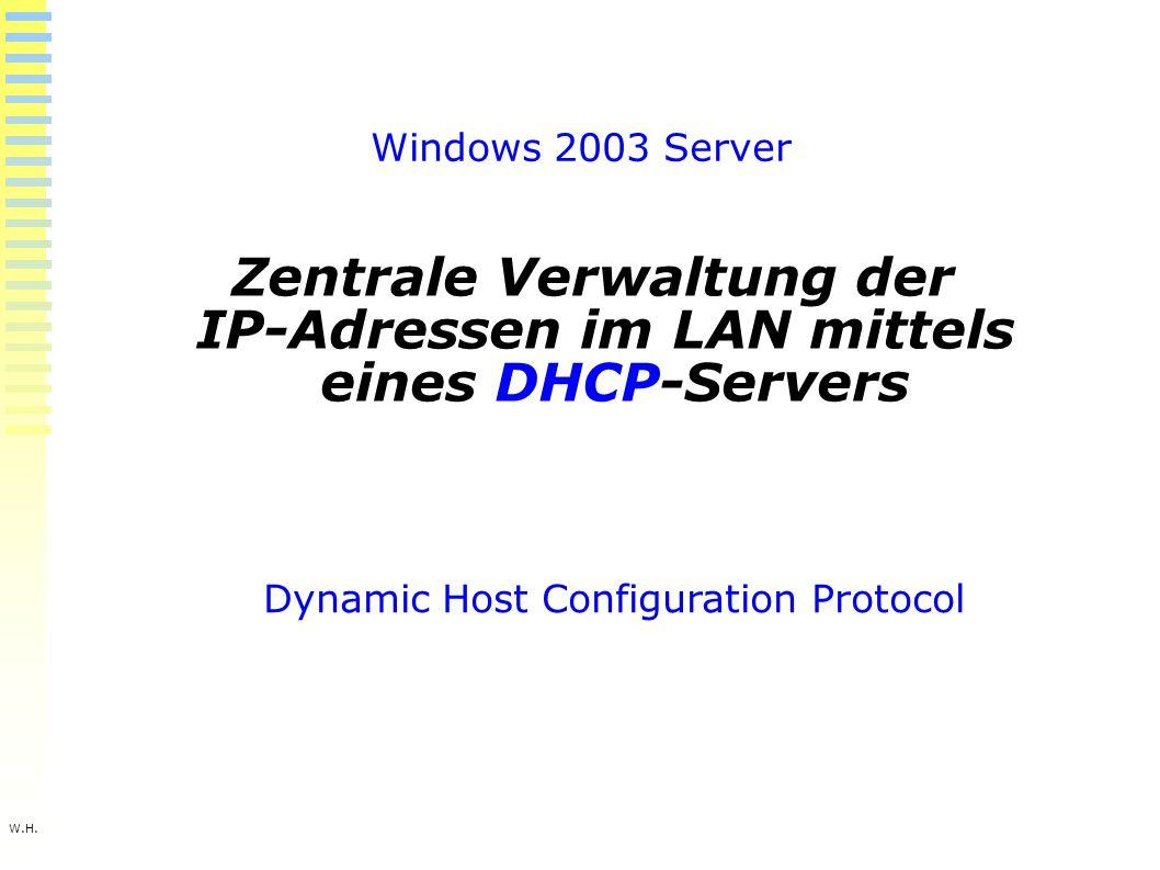 W.H. Windows 2003 Server Zentrale Verwaltung der IP-Adressen im LAN mittels eines DHCP-Servers Dynamic Host Configuration Protocol