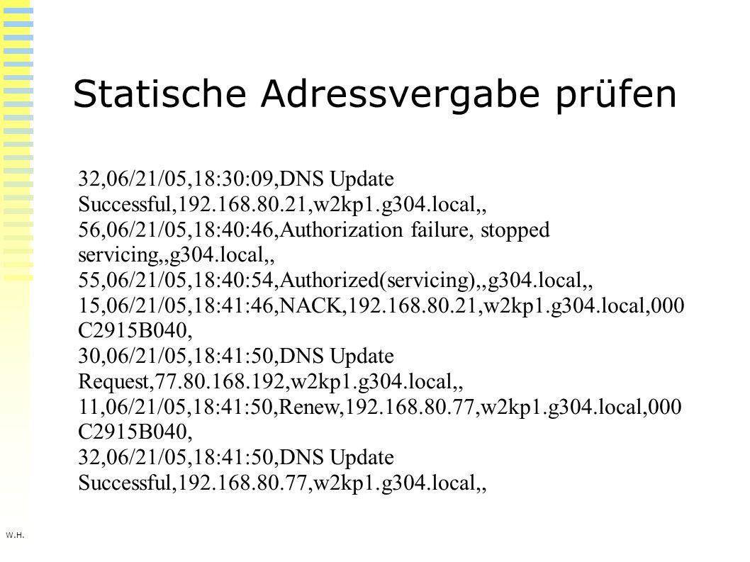 W.H. Statische Adressvergabe prüfen 32,06/21/05,18:30:09,DNS Update Successful,192.168.80.21,w2kp1.g304.local,, 56,06/21/05,18:40:46,Authorization fai